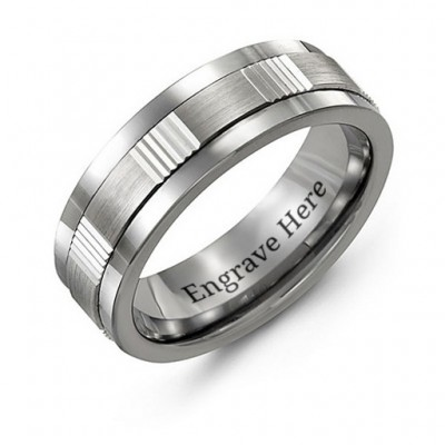 Men's Brushed Ribbed Tungsten Band Ring - The Handmade ™
