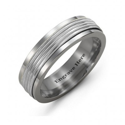 Men's Ribbed Centre Tungsten Band Ring - The Handmade ™