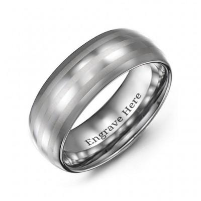 Men's Tungsten Polished Triple Stripe Satin Centre Ring - The Handmade ™