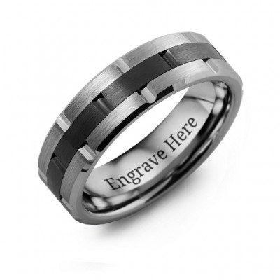 Men's Tungsten & Ceramic Grooved Brushed Ring - The Handmade ™