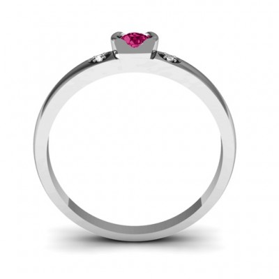Open Bezel Cut Ring with Accents Stones - The Handmade ™