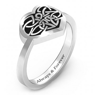 Oxidized Silver Celtic Heart Ring - The Handmade ™
