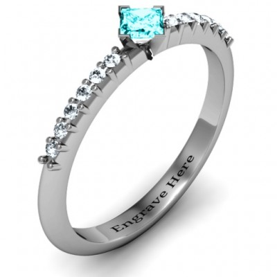 Princess Centre Stone Ring with Twin Accent Rows - The Handmade ™