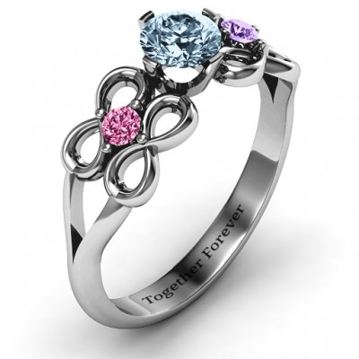 Quad Infinity Ring with Centre stone and Dual Accent Ring - The Handmade ™