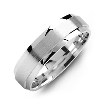 Raised Brush Centre Flat Polished Edges Men's Ring - The Handmade ™