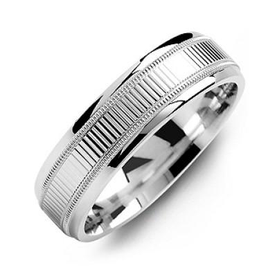 Ridged Men's Ring with Milgrain Edges - The Handmade ™