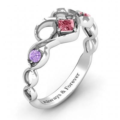 Shimmering Infinity Princess Stone Heart Ring - The Handmade ™