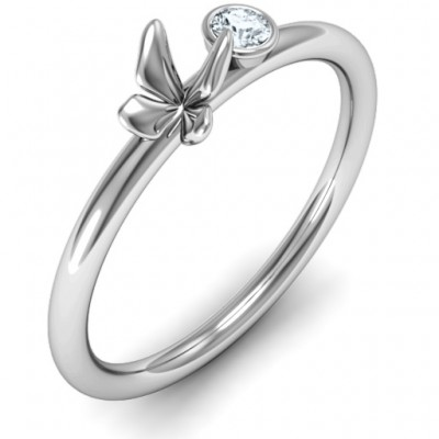 Soaring Butterfly with Stone 'Flower' Ring - The Handmade ™