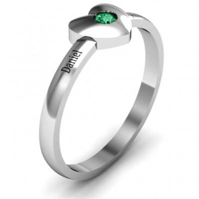 Heart with Single Gemstone Ring - The Handmade ™