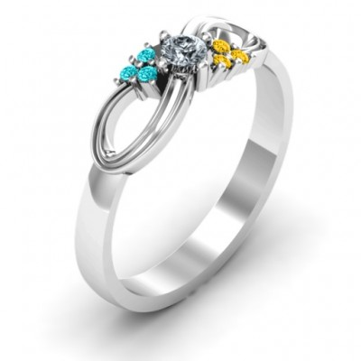 Solitaire Infinity Ring with Accents - The Handmade ™
