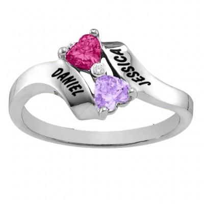 Silver Rhapsody Kissing Hearts Ring - The Handmade ™