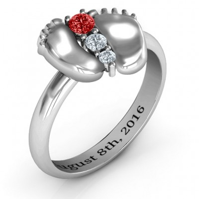 Silver Baby Foot Birthstone Ring - The Handmade ™