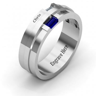Silver Baguette Men's Ring - The Handmade ™