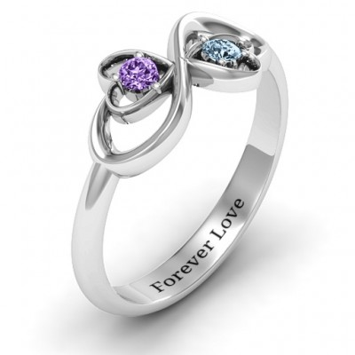 Silver Duo of Hearts and Stones Infinity Ring - The Handmade ™