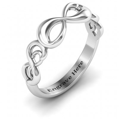 Silver Groovy Infinity Ring - The Handmade ™