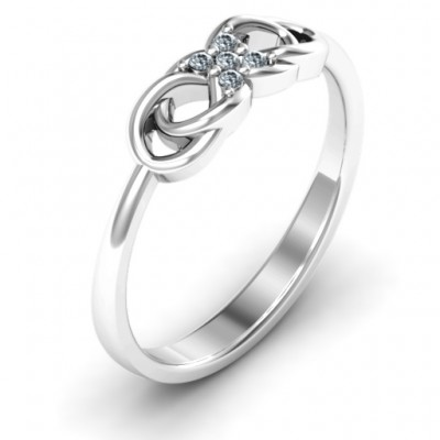 Silver Infinity Knot Ring with Accents - The Handmade ™
