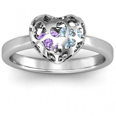 Silver Petite Caged Hearts Ring with 1-3 Stones - The Handmade ™