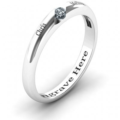 Silver Reveal Stone Grooved Women's Ring with Cubic Zirconias Stone - The Handmade ™