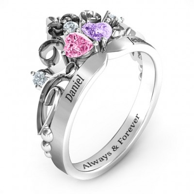 Silver Royal Romance Double Heart Tiara Ring with Engravings - The Handmade ™