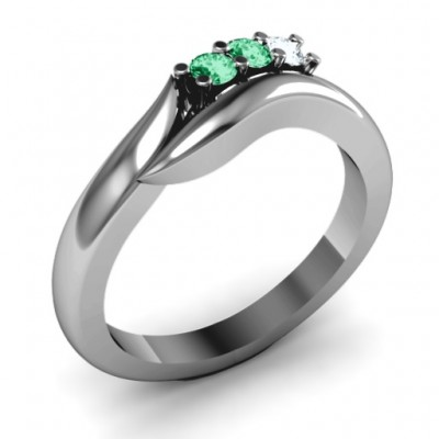 Silver Three Stone Single Bypass Ring - The Handmade ™