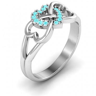Silver Triple Heart Infinity Ring with Mint Swarovski Zirconia Stones - The Handmade ™