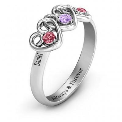 Three's Company Triple Heart Gemstone Ring - The Handmade ™
