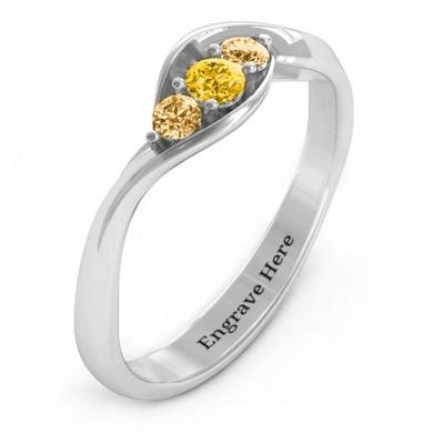 Triple Stone Swirl Ring - The Handmade ™
