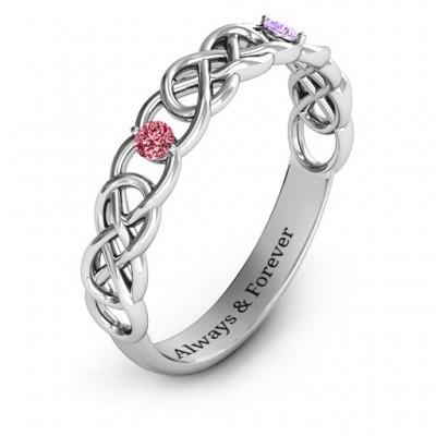 Two-Stone Interwoven Infinity Ring - The Handmade ™