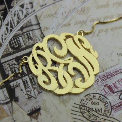 Gold Large Monogram Necklace Hand-painted - The Handmade ™