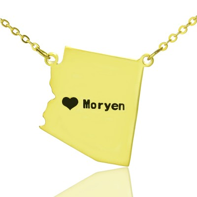 Arizona State Shaped Necklaces With Heart Name Gold - The Handmade ™