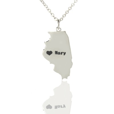 Illinois State Shaped Necklaces With Heart Name Silver - The Handmade ™