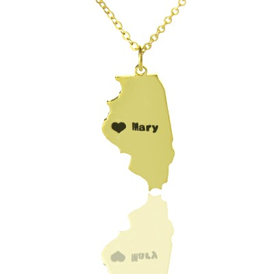 Illinois State Shaped Necklaces With Heart Name Gold - The Handmade ™