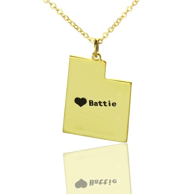 Utah State Shaped Necklaces With Heart Name Gold - The Handmade ™