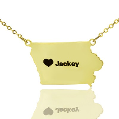 Iowa State USA Map Necklace With Heart Name Gold - The Handmade ™