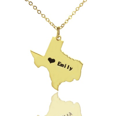 Texas State USA Map Necklace With Heart Name Gold - The Handmade ™