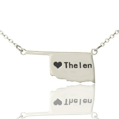 America Oklahoma State USA Map Necklace With Heart Name Silver - The Handmade ™