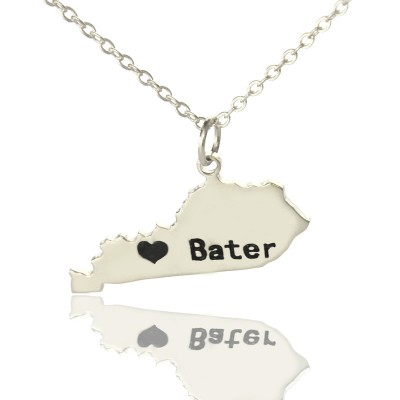 Kentucky State Shaped Necklaces With Heart Name Silver - The Handmade ™