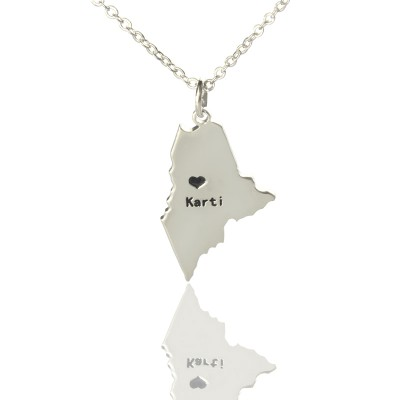 Maine State Shaped Necklaces With Heart Name Silver - The Handmade ™