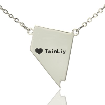 Nevada State Shaped Necklaces With Heart Name Silver - The Handmade ™