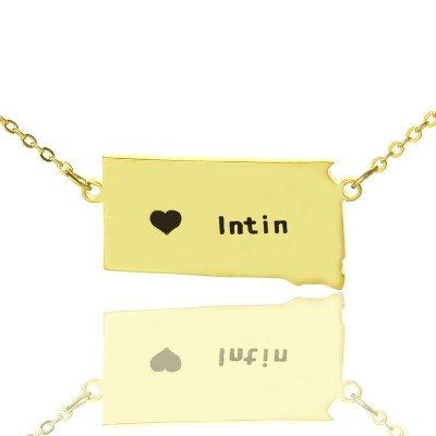 South Dakota State Shaped Necklaces With Heart Name Gold - The Handmade ™