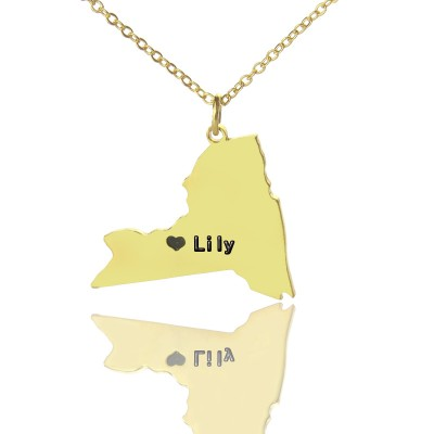 NY State Shaped Necklaces With Heart Name Gold - The Handmade ™