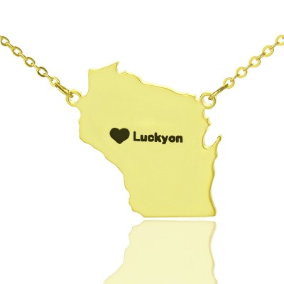 Wisconsin State Shaped Necklaces With Heart Name Gold - The Handmade ™