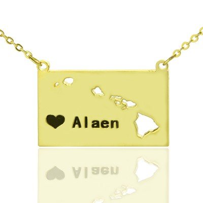 Hawaii State Shaped Necklaces With Heart Name Gold - The Handmade ™