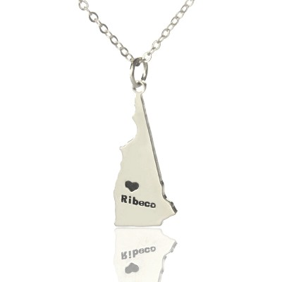 New Hampshire State Shaped Necklaces With Heart Name Silver - The Handmade ™