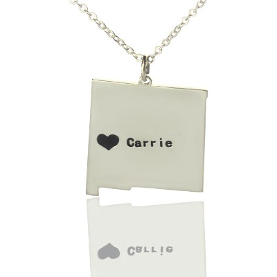 New Mexico State Shaped Necklaces With Heart Name Silver - The Handmade ™