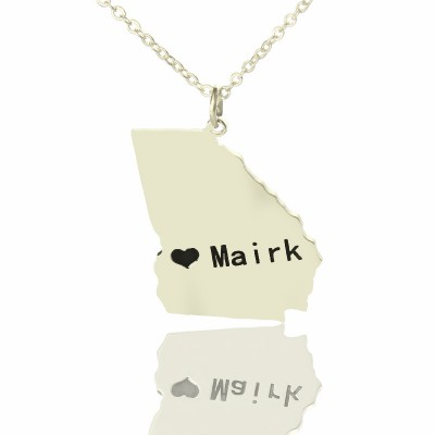 Georgia State Shaped Necklaces With Heart Name Silver - The Handmade ™