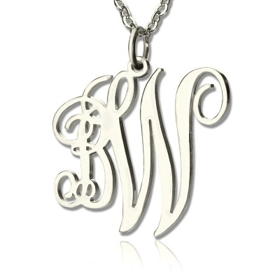 Vine Font 2 Initial Monogram Necklace White Gold - The Handmade ™
