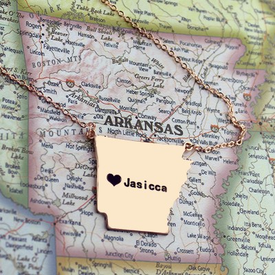 AR State USA Map Necklace With Heart Name Rose Gold - The Handmade ™