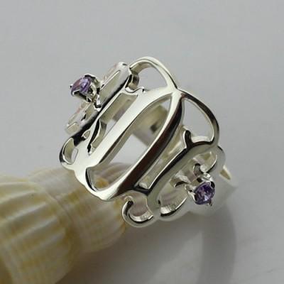 Birthstone Monogram Rings For Women Silver - The Handmade ™