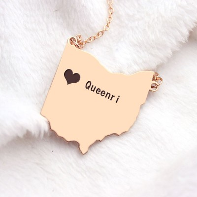 Ohio State USA Map Necklace With Heart Name Rose Gold - The Handmade ™